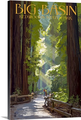 Big Basin Redwoods State Park - Pathway in Trees: Retro Travel Poster
