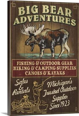 Big Bear Adventures - Moose Vintage Sign: Retro Travel Poster