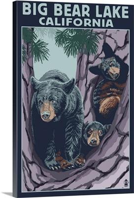 Big Bear Lake, California -Bear and Cubs: Retro Travel Poster
