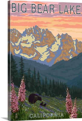 Big Bear Lake, California - Bears and Spring Flowers: Retro Travel Poster
