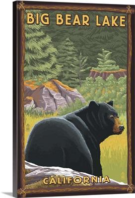 Big Bear Lake, California - Black Bear in Forest: Retro Travel Poster