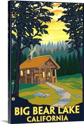 Big Bear Lake, California -Cabin in the Woods: Retro Travel Poster
