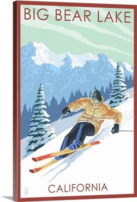 Big Bear Lake - California - Downhill Skier: Retro Travel Poster