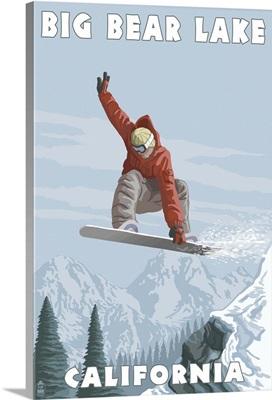 Big Bear Lake - California - Snowboarder Jumping: Retro Travel Poster