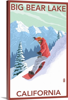Big Bear Lake - California - Snowboarder: Retro Travel Poster