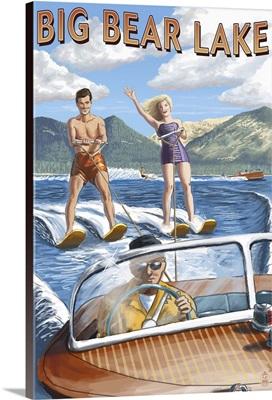 Big Bear Lake, California - Waterskiers: Retro Travel Poster