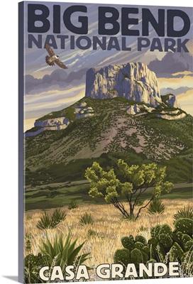Big Bend National Park, Texas - Casa Grande: Retro Travel Poster