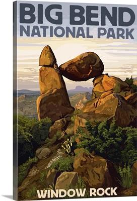 Big Bend National Park, Texas - Window Rock: Retro Travel Poster