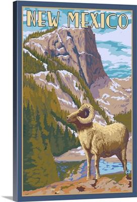Big Horn Sheep - New Mexico: Retro Travel Poster
