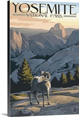 Big Horn Sheep - Yosemite National Park, California: Retro Travel Poster