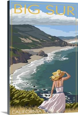 Big Sur, California Coast Scene: Retro Travel Poster