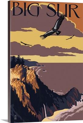 Big Sur, California - Condors: Retro Travel Poster