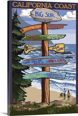 Big Sur, California - Destination Sign: Retro Travel Poster