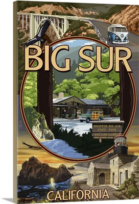 Big Sur, California - Montage Scenes: Retro Travel Poster