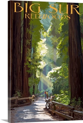 Big Sur, California - Pathway and Hikers: Retro Travel Poster