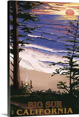 Big Sur, California Surfing and Sunset: Retro Travel Poster