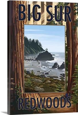 Big Sur, California - Trees and Ocean Scene: Retro Travel Poster