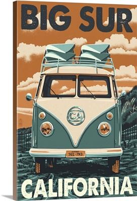 Big Sur, California - VW Van Blockprint: Retro Travel Poster