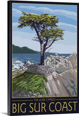 Big Sur Coast, California - Lone Cypress Tree: Retro Travel Poster