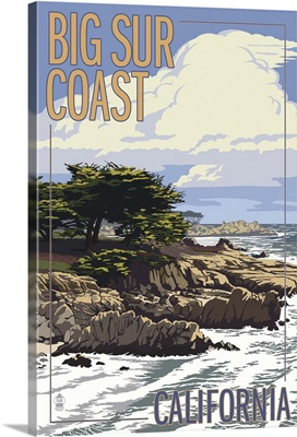 Big Sur Coast, California - View of Cypress Trees: Retro Travel Poster