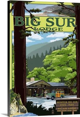 Big Sur Lodge, California: Retro Travel Poster