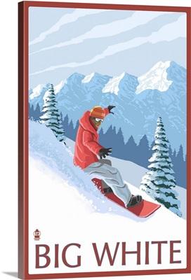Big White - Snowboarder: Retro Travel Poster