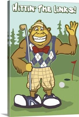 Bigfoot Golfer: Retro Travel Poster