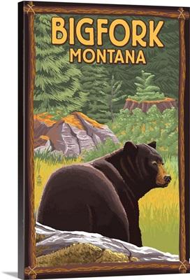 Bigfork, Montana - Bear in Forest: Retro Travel Poster