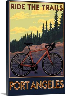 Bike and Trails - Port Angeles, WA: Retro Travel Poster