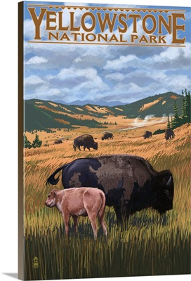 Bison and Calf Grazing - Yellowstone National Park: Retro Travel Poster