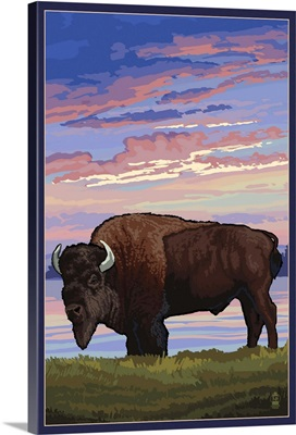 Bison and Sunset: Retro Poster Art