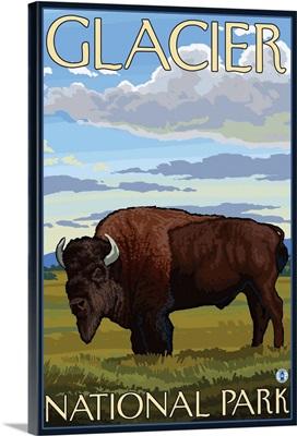 Bison Scene - Glacier National Park, Montana: Retro Travel Poster