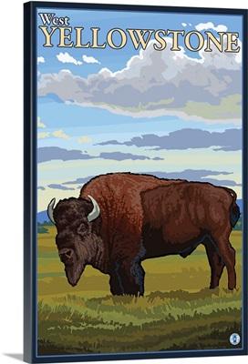 Bison Scene - West Yellowstone, Montana: Retro Travel Poster