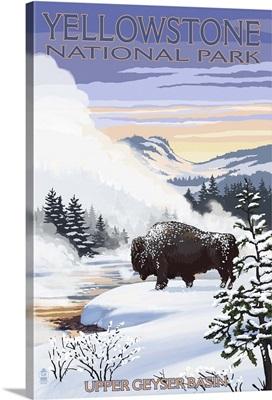 Bison Snow Scene - Yellowstone National Park: Retro Travel Poster
