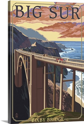 Bixby Bridge - California Coast: Retro Travel Poster