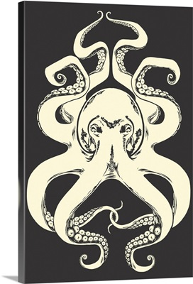 Black and White Octopus: Retro Art Poster