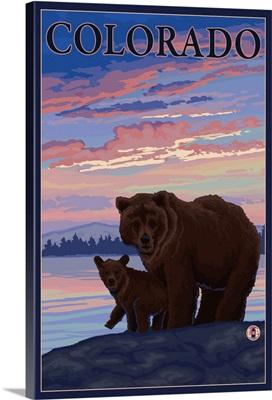 Black Bear and Cub - Colorado: Retro Travel Poster