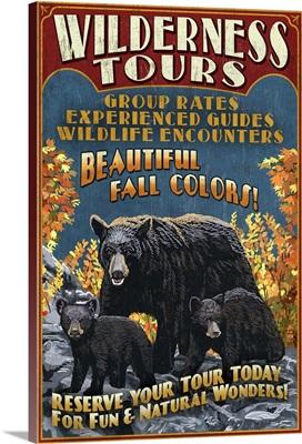 Black Bear Family, Vintage Sign