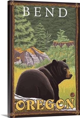 Black Bear in Forest - Bend, Oregon: Retro Travel Poster
