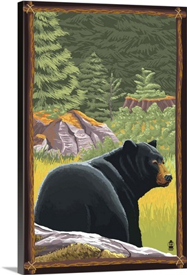 Black Bear in Forest: Retro Travel Poster
