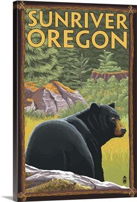 Black Bear in Forest - Sunriver, Oregon: Retro Travel Poster