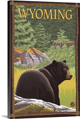 Black Bear in Forest - Wyoming: Retro Travel Poster