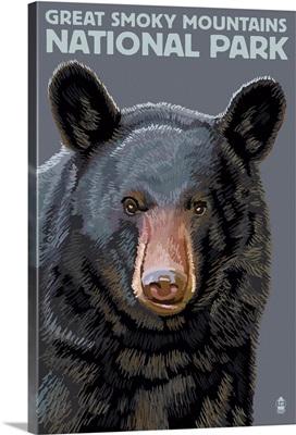 Black Bear Up Close - Great Smoky Mountains National Park, TN: Retro Travel Poster
