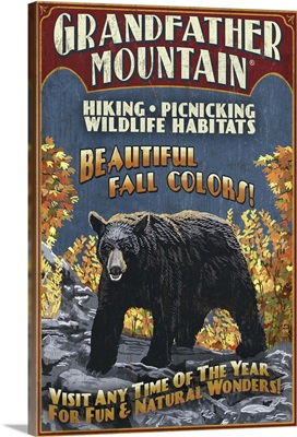 Black Bear Vintage Sign - Grandfather Mountain, Tennessee: Retro Travel Poster