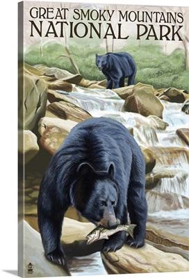 Black Bears Fishing - Smoky Mountains National Park, TN: Retro Travel Poster