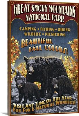 Black Bears Vintage Sign - Great Smoky Mountain National Park, TN: Retro Travel Poster