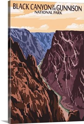 Black Canyon of the Gunnison National Park, Colorado: Retro Travel Poster