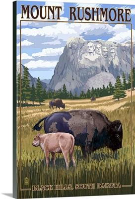 Black Hills, South Dakota - Bison Grazing: Retro Travel Poster