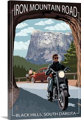 Black Hills, South Dakota - Iron Mountain Road Biker Scene: Retro Travel Poster