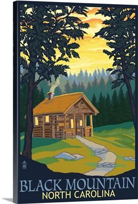 Black Mountain, North Carolina - Cabin Scene: Retro Travel Poster